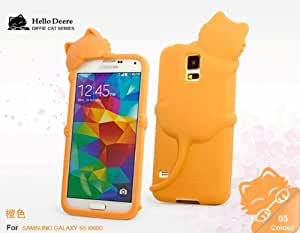 """""""Hello Deere"""" Lovely 3D Cat Cartoon Soft Shell Case with Earphone Jack Dust Cover for Samsung Galaxy i9600 S5 - (Orange HD-DFM-S5-2)"""