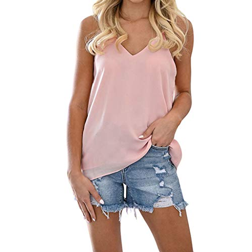 CCatyam Plus Size Tank Tops for Women, Blouses T-Shirt V-Neck Solid Lace Loose Sexy Casual Fashion Pink