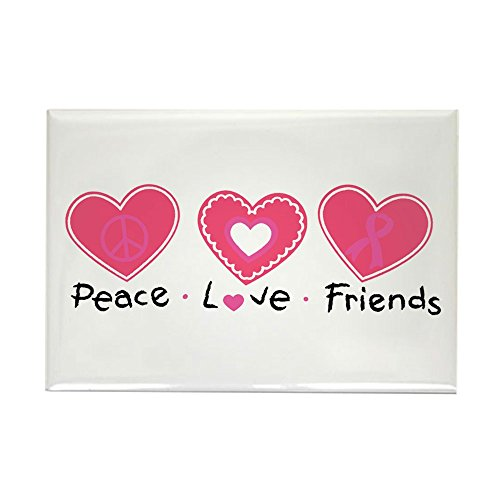 Rectangle Magnet Cancer Peace Love Friends Pink Ribbon