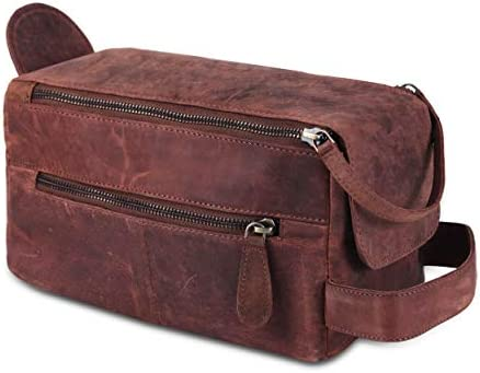 Toiletry Bag for Men Dopp Kit genuine Buffalo Leather Toiletry Bag Case for Women Travel Accessories for Men Women Travel Makeup cosmetic Bag Travel Essentials Organizer Leather Travel Toiletries Bag