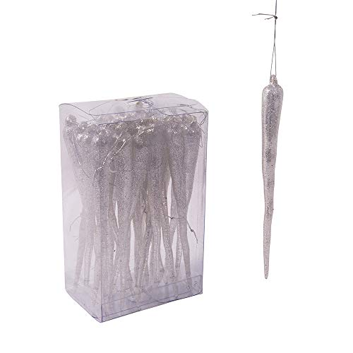 - Kurt Adler 5-Inch Plastic Glittered Icicle Ornament Set of 24, 24 Piece