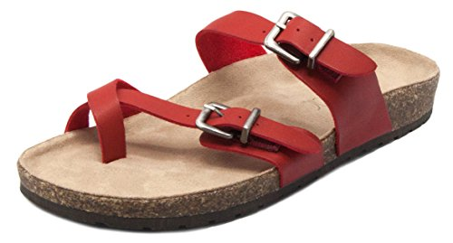 Sugar Women's Xporter 2 Band Cork Sandal Slide with Buckles and Toe Thong Red 6.5 (Band Sugar Womens)