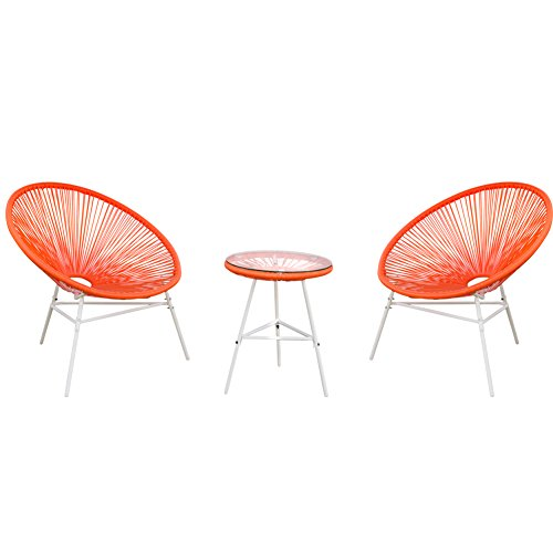 PatioPost 3 Piece Outdoor Acapulco Sun Weave Lounge Patio Chair with Top Glass Table, Orange Red