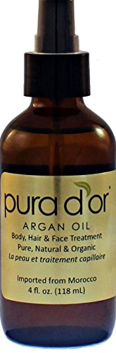 Pura D'or 100% Pure Natural & Usda Organic Argan Oil (4 Fl. Oz.) for Body Face Hair Skin and Nails Treatment