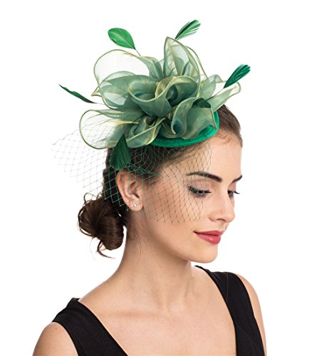 SAFERIN Fascinators Hat Flower Mesh Feathers on a Headband and a Clip Tea Party Headwear for Girls and Women (TA2-Foral Mesh Green)