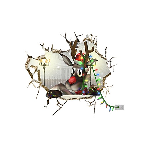 3D Christmas Wall Sticker,Ikevan 67x58cm Christmas Reindeer Waterproof Environmental Protection PVC Sticker Stereoscopic Wall Decals Sticker Home Wall Decor Gifts -
