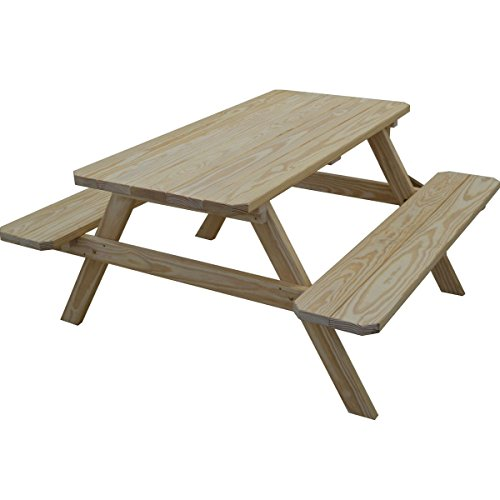 Kunkle Holdings LLC Classic Pine Picnic Table with Attached Benches Pine- Unfinished- 4 ft.