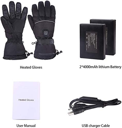 Lukang Heated Gloves & Winter Gloves,Motorcycle Gloves,3 Heating Levels, Waterproof & Rechargeable Touch Screen Heated Gloves, for All Kinds Outdoor Activities Men Women