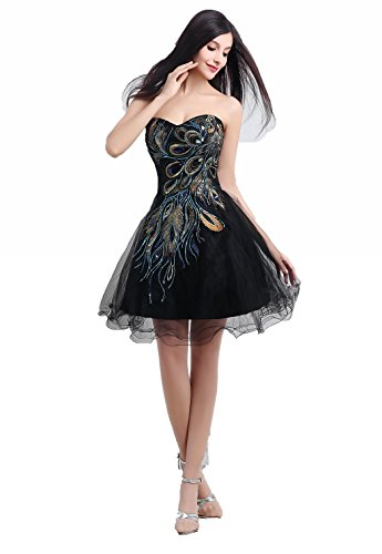 Women's Bridal Annie's Peacock Embroidery Black Short Dresses Homecoming Prom Junior Fqdd7Bw5