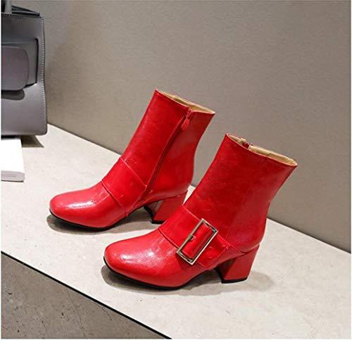 botas De Otoño Botas Cm Punta Wsr 6 Martin Tacón Invierno 43 botines Para Mujer 34 Rojo Alto Con E Iqtvwv