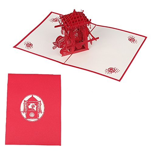 Kofun Greeting Card with Envelope, 3D Chinese Bridal Sedan Chair Pop Up Birthday New Year Invitation Card Paper Cards Handmade Craft Valentines Party 15x20CM