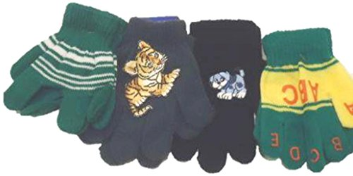 Set of Four Pairs of One Size Magic Stress Gloves for Infants Ages 1-3 Years by Gita