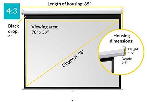 "ivolum 98"" Manual Projector Screen, 4:3 format, Manual pull down projector screen"