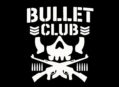 Baseball Logo Vinyl Sticker (BULLET CLUB LOGO (WHITE) (set of 2) - silhouette stencil artwork by ANGDEST - Waterproof Vinyl Decal Stickers for Laptop Phone Helmet Car Window Bumper Mug Cup Door Wall Home Decoration)