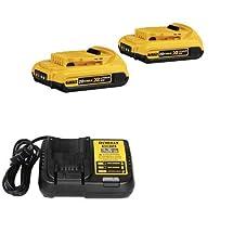 DEWALT DCB203R 2 Pack 20V MAX* XR Li-Ion Batteries & 20 Volt Battery Charger