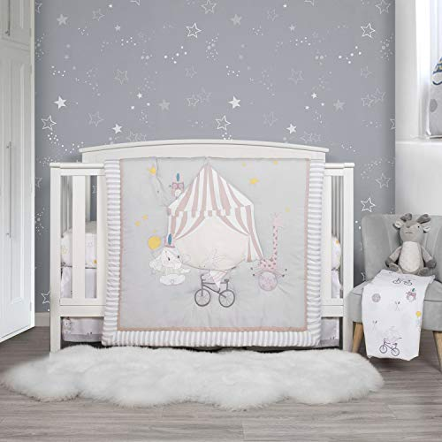 TILLYOU Luxury 4 Pieces Elephant Crib Bedding Set (Quilt, Crib Sheets, Crib Skirt) – Party & Playground Theme Printed Nursery Bedding Set for Boys Girls, Gray & White