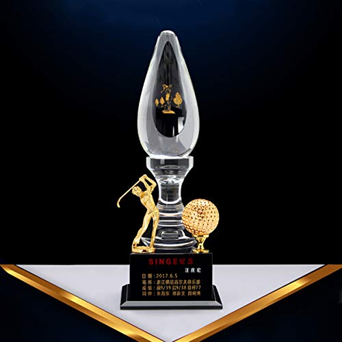 Trophy Crystal Custom High-Grade Wooden Box Packaging Lighthouse Trophy Golf One Hole Into The Single Memorial