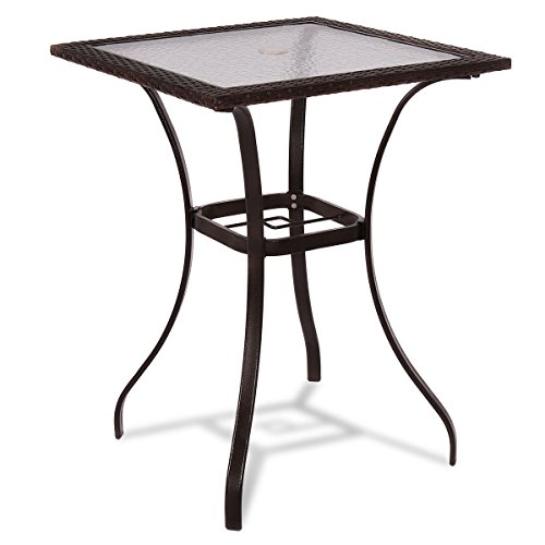 (RX-789 PE Rattan Wicker Glass Square Table Glass Top Yard Garden Outdoor Patio Furniture Brown)