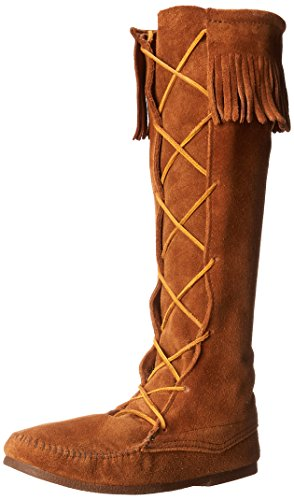 Minnetonka Men's Front Lace Knee High Boot,Brown,8 M US