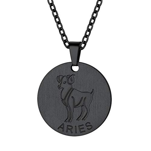 FaithHeart Customizable Astrology 12 Constellation Horoscope Necklace, Black Gun Plated Aries Zodiac Star Sign Coin Pendant Necklace Birthday Gifts Lucky Charms Layered Necklace (Black)