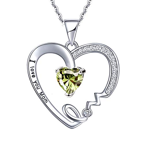 (UEUC Mother's Birthday Necklace I Love You Mom Rhinestones Plated S925 Sterling Silver Heart Pendant)
