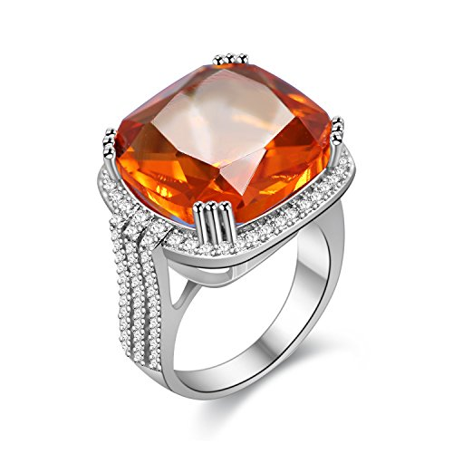 Orange Ring Cocktail (Uloveido Girl's Statement Rings 16mm Orange Cubic Zirconia Ring Cocktail Ring Large Square Ring for Party Size 6 7 8 9 10 for Anniversary Wedding RA219-10)