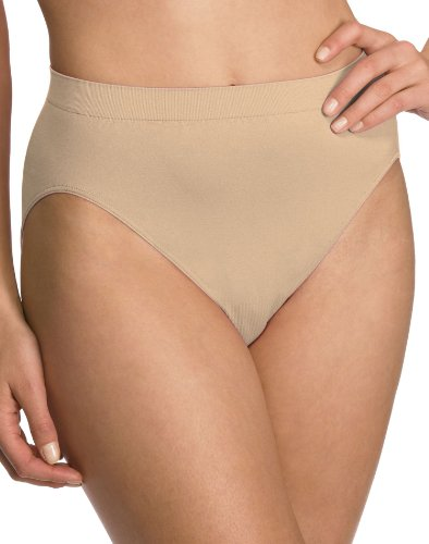 Bali Women`s Set of 6 Comfort Revolution Microfiber Seamless Hi Cut Panty 8/9, Nude, Hi Cut