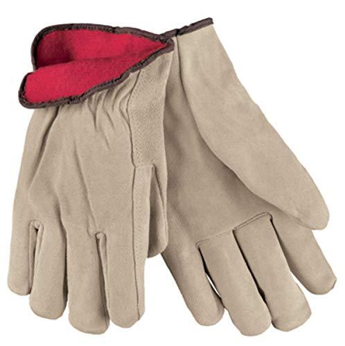 Memphis Glove X-Large Tan Split Cowhide Fleece Lined Cold Weather Gloves - 12 Pair/Dozen Pack Quantity-5