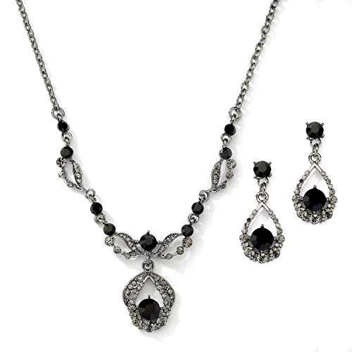 (Mariell Jet Hematite Black Vintage Crystal Necklace & Earrings Jewelry Set for Prom, Bridal,)