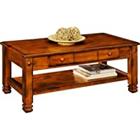 Convenient Console Sturdy Shelf 2 Drawer Rustic Oak Walnut Living Room Furniture Coffee Table Dimensions 40.0 x 20.0 x 17.01 IN