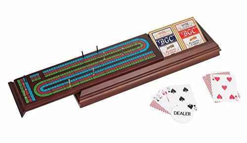 - Royal Cribbage Board Walnut Box Storage With Pegs & Two Decks & Dealer Button