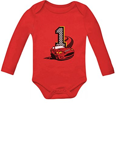 Racing Car 1st Birthday Gift for One Year Old Infant Baby Long Sleeve Bodysuit 18M (12-18M) Red