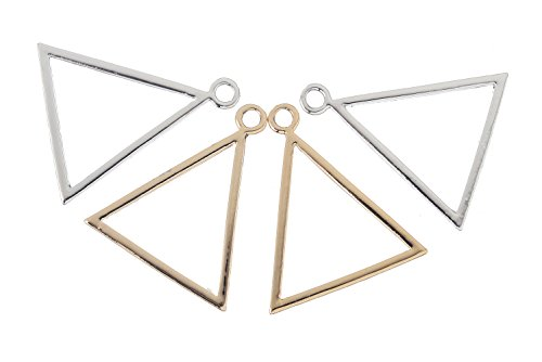Giftale Gold and Silver Plated Triangle Pendant Jewelry Making Charms for Bracelet
