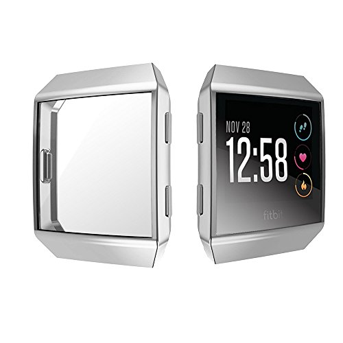 [2-PACK] Fitbit Ionic Screen Protector Case, UBOLE Scratch-resistant Flexible Lightweight Plated TPU FullBody Protective Case for Fitbit Ionic Smart Watch (CLEAR+SILVER) by UBOLE (Image #1)