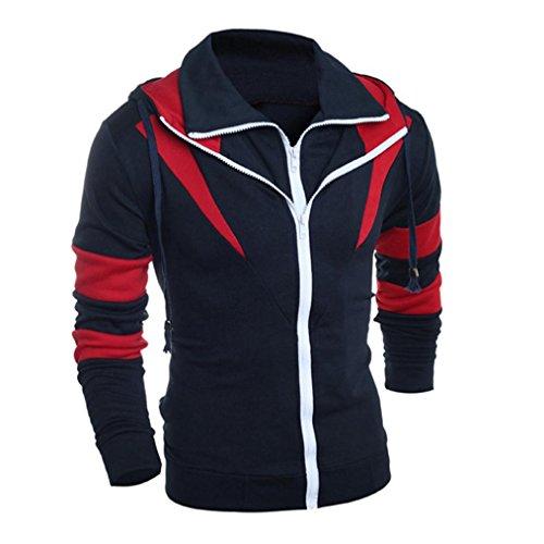 Long Jacket Retro Men Navy BHYDRY Sweatshirt Down Coat Hooded Sleeve Fashion Hoodie Tops Turn Outwear Collar w71wE5tqxZ