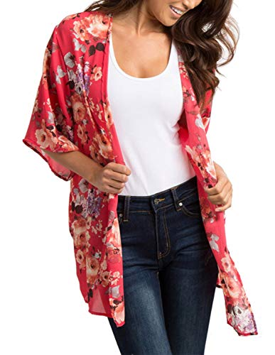 (Women Lightweight Kimono Cover ups Short Sleeve Cardigan Wraps Watermelon Red M )