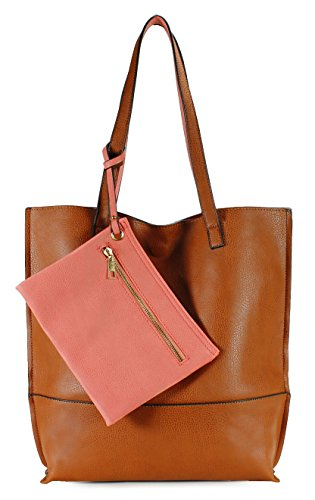 Scarleton Trendy Reversible Tote Bag H20180452 - Brown/Coral Pink -