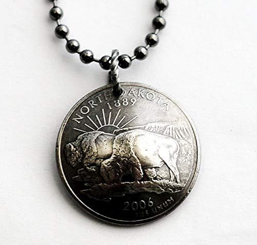 State Quarter Necklace Domed Coin Pendant North Dakota 2006 Buffalo Bison