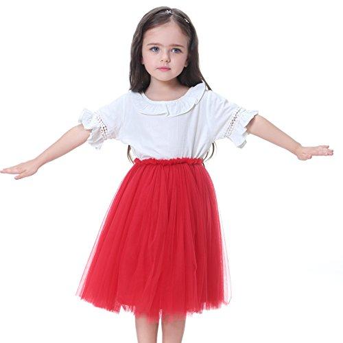 Flofallzique 6 Colors Toddler Skirt Princess Skirt Long Tulle Party Skirt For Girls (8, Red)