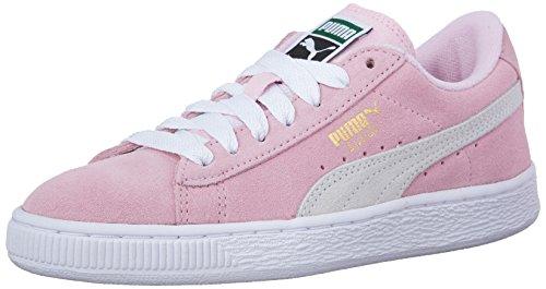 (PUMA Kids' Suede Sneaker, Pink Lady/ White/ Team Gold, 4.5 M US Big Kid)