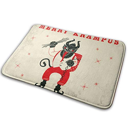 DIDIDI Merry Krampus Christmas Demon Throw Area Ground Mat Accent Floor Carpet Outside Door Set Decor Welcome Entryway Rug Sign Celebrate Decorations Ornament -