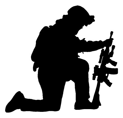 Sassy Stickers US Military Kneeling Soldier Black Decal Window Sticker