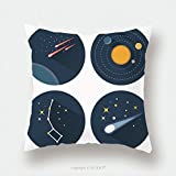 Custom Satin Pillowcase Protector Space Stars Constellations Galaxies And Comets Solar System Vector Flat Icons Set Illustration 323831549 Pillow Case Covers Decorative