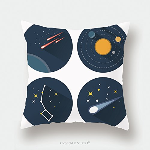 Custom Satin Pillowcase Protector Space Stars Constellations Galaxies And Comets Solar System Vector Flat Icons Set Illustration 323831549 Pillow Case Covers Decorative by chaoran