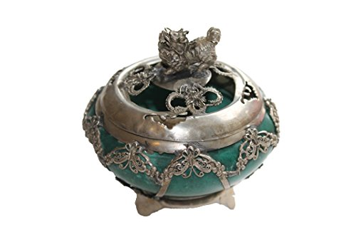 Oriental Chinese Incense Burner Urn Dragon Jade-Like Stone Home Decor Collectible - (Green Jade Like Stone)
