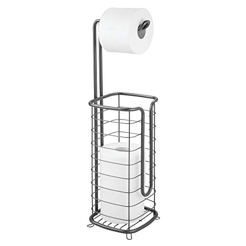 mDesign Free Standing Toilet Paper Holder Stand and Dispenser, with Storage for 3 Spare Rolls of Toilet Tissue While Dispensing 1 Roll - for Bathrooms/Powder Rooms - Holds Mega Rolls - Graphite Gray