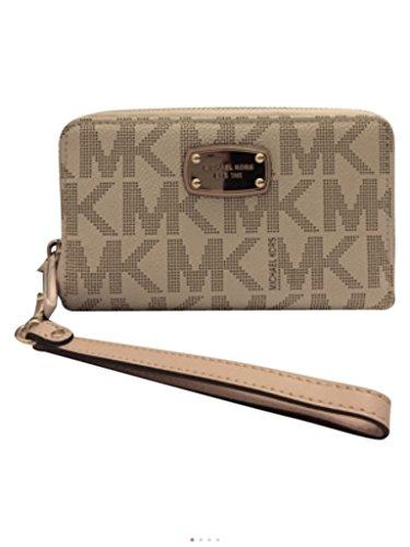 Michael Kors Large Flat Multifunction Phone Case Wristlet Wallet in Vanilla