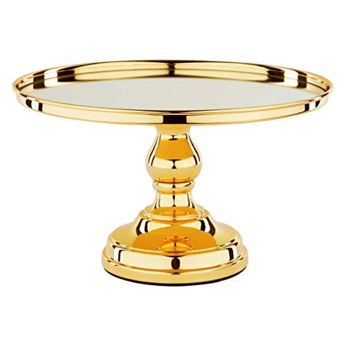 - 12 Inch Gold Plated Mirror Top Cake Stand Shiny Gloss Round Wedding Dessert Cupcake Pedestal Display