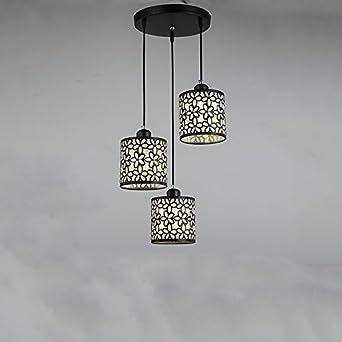Hängeleuchte Leuchte Vintage Pendelleuchte 3 Flammig Kronleuchter Modern  Design E27 Metall Pendelleuchten Esstisch Weiß Und Schwarz