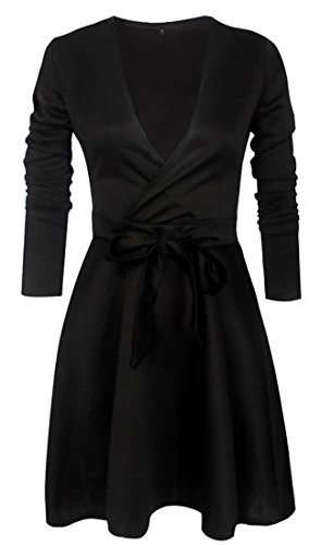 Cruiize Womens Manches Longues Coupe-bas Arc Mini-solide Sexy Flare Robe Noire